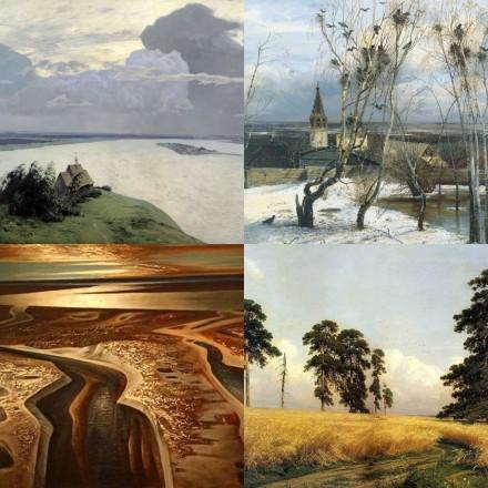 Четыре русских пейзажа. Река. Рожь. Шатер. Север