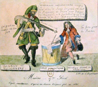 Драгун-миссионер. Карикатура на отмену Нантского эдикта.